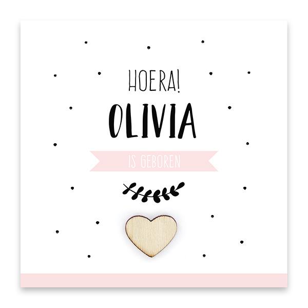 Familycards Klein Geluk Geboortekaartje - roze met houten hartje (66643)
