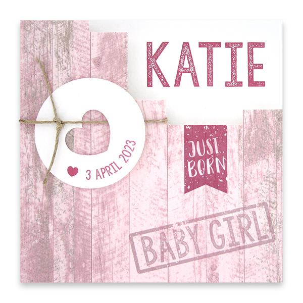 Familycards Klein Geluk Geboortekaartje - roze met steigerhout en hartje  (66545) - Copy