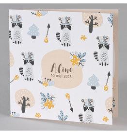 Buromac Baby Folly 2019 Geboortekaart in zalmroze met wasbeertjes