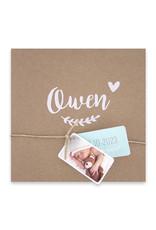 Familycards-Deel je Geluk Geboortekaartje van eco-papier met 2 labeltjes (66661)