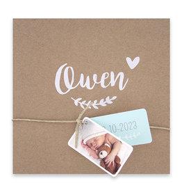 Familycards-Deel je Geluk Geboortekaartje van eco-papier met 2 labeltjes