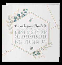 Belarto Celebrate Love Huwelijkskaart - Aquarel met goud