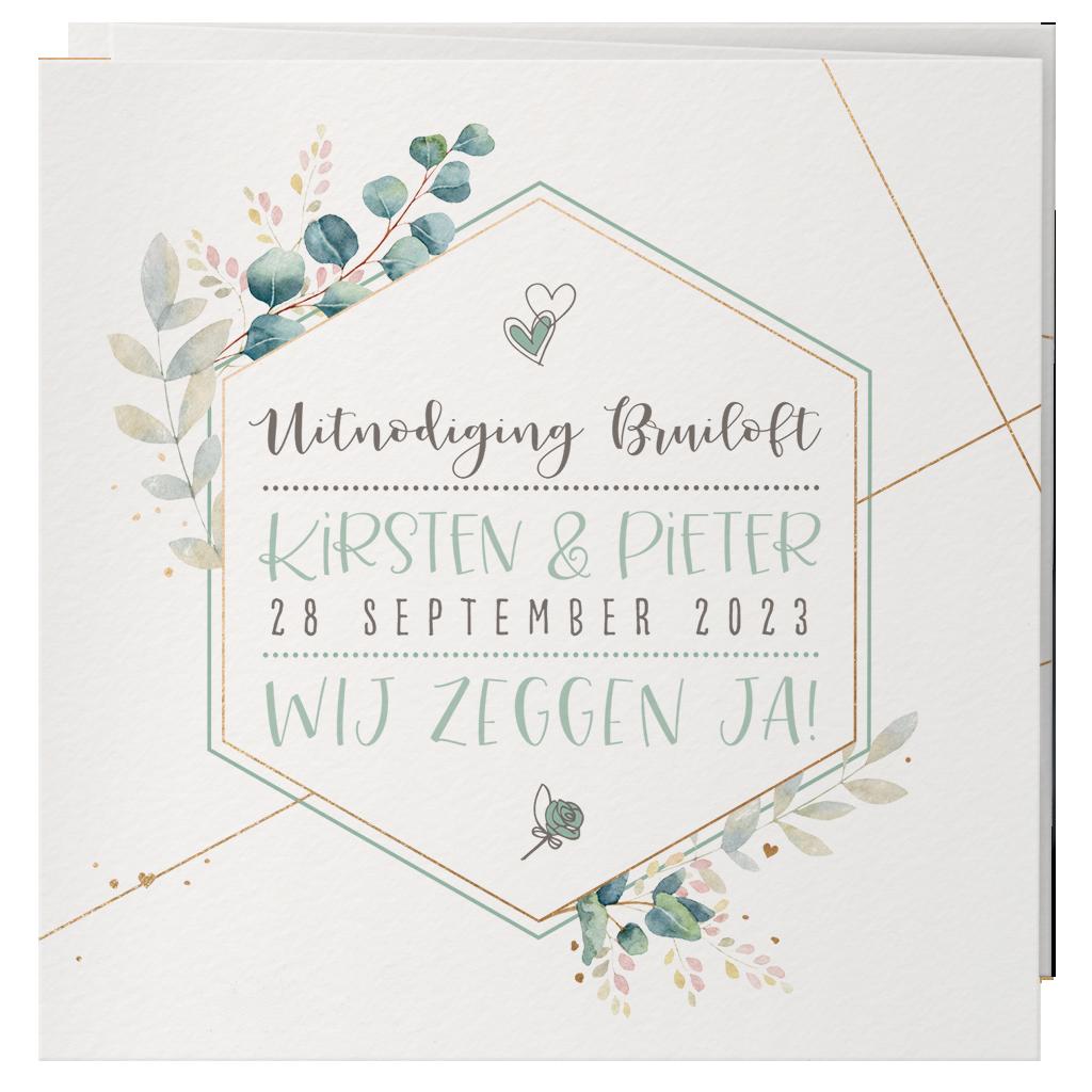 Belarto Celebrate Love Huwelijkskaart - Aquarel met goud (729205)