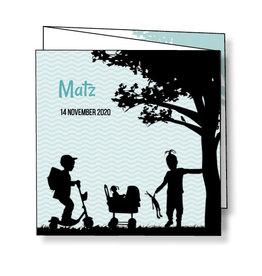 Mare Geboortekaartje silhouetjes onder boom - mintgroen