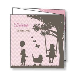 Mare Geboortekaartje silhouetjes onder boom - roze