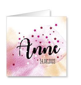 Mare Geboortekaartje aquarel, roze