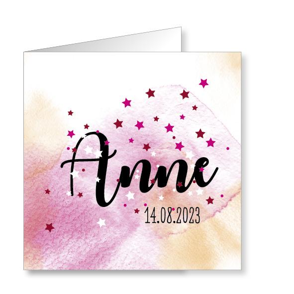 Mare Geboortekaartje aquarel, roze (160002)
