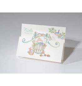 Familycards Small World Geboortekaart, retro,  drieluik met blauw wiegje