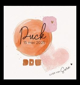 Belarto Geboorte 2020 Geboortekaartje aquarel, roze cirkel met hart