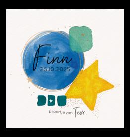 Belarto Geboorte 2020 Geboortekaartje aquarel, blauw cirkel met hart