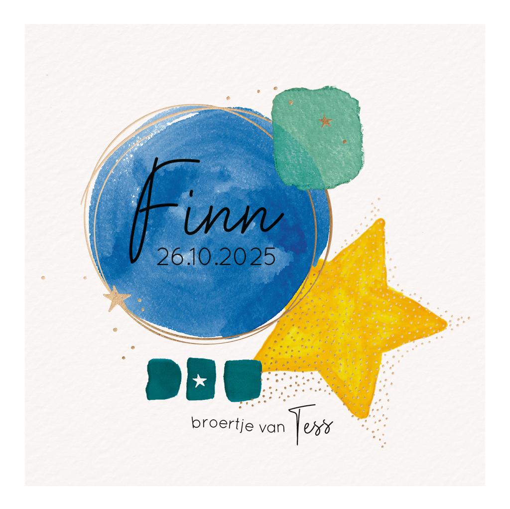 Belarto Geboorte 2020 Geboortekaartje aquarel, blauw cirkel met hart (610013)