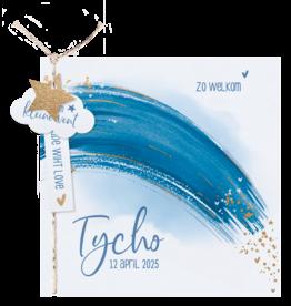 Belarto Geboorte 2020 Geboortekaartje aquarel, blauwe regenboog