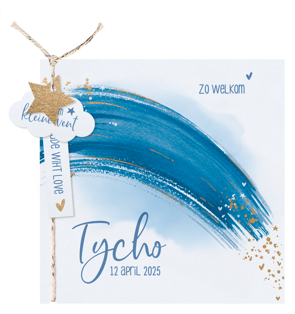 Belarto Geboorte 2020 Geboortekaartje aquarel, blauwe regenboog(610027)