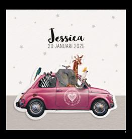 Belarto Geboorte 2020 Geboortekaartje roze auto vol dierenvriendjes