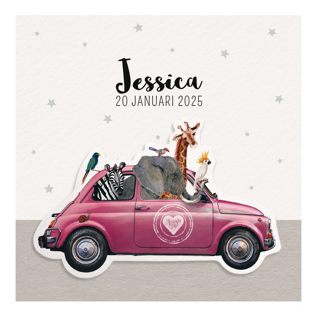 Belarto Geboorte 2020 Geboortekaartje roze auto vol dierenvriendjes (610031M)
