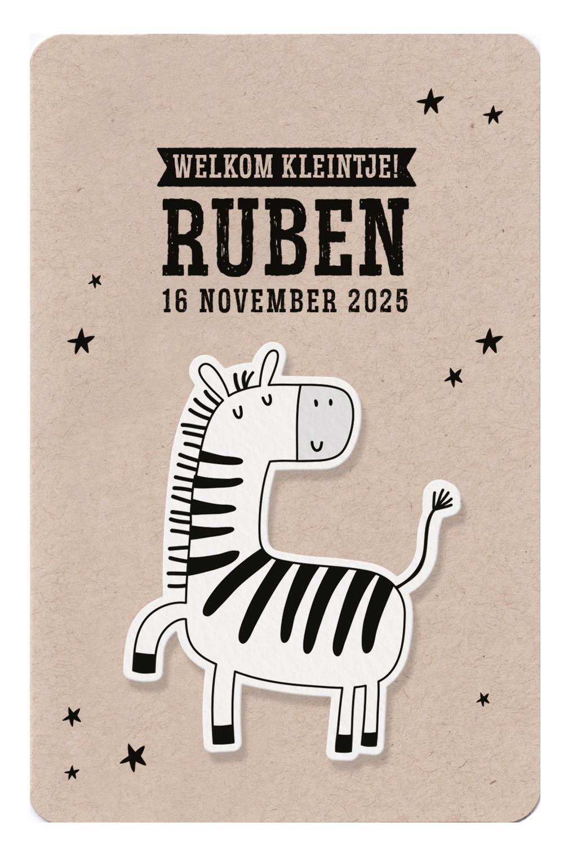 Belarto Geboorte 2020 Geboortekaartje dieren op kraft (610039)