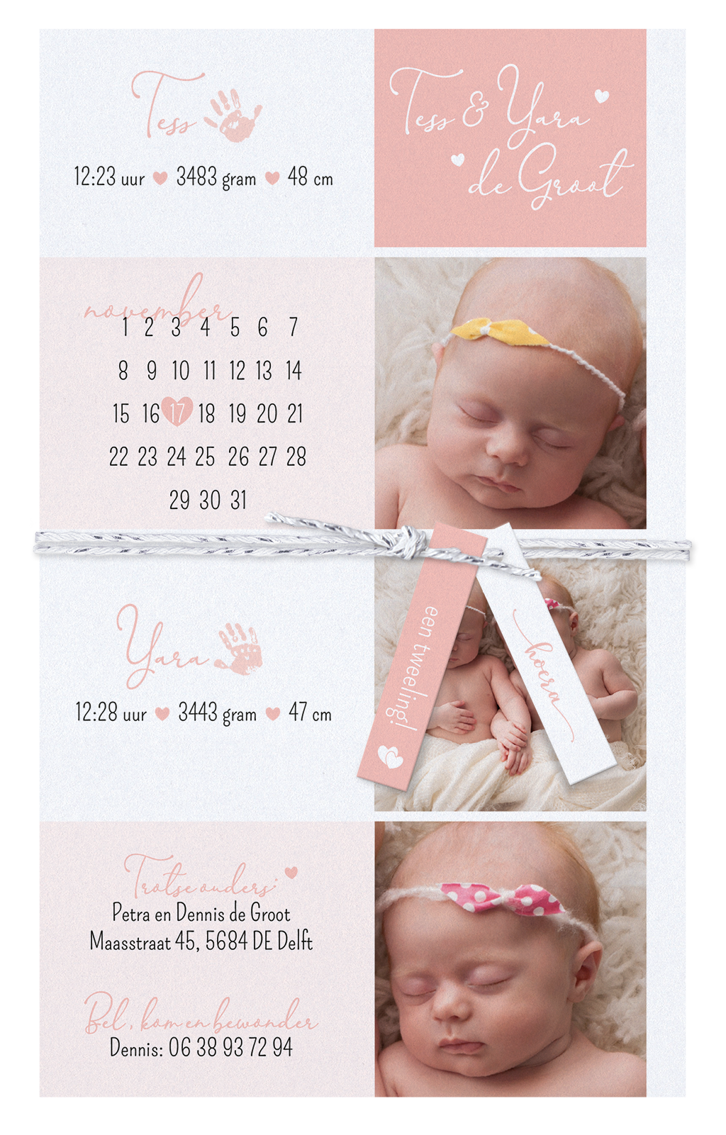Belarto Geboorte 2020 Geboortekaartje - DIY  met labeltjes - tweeling (610024T)