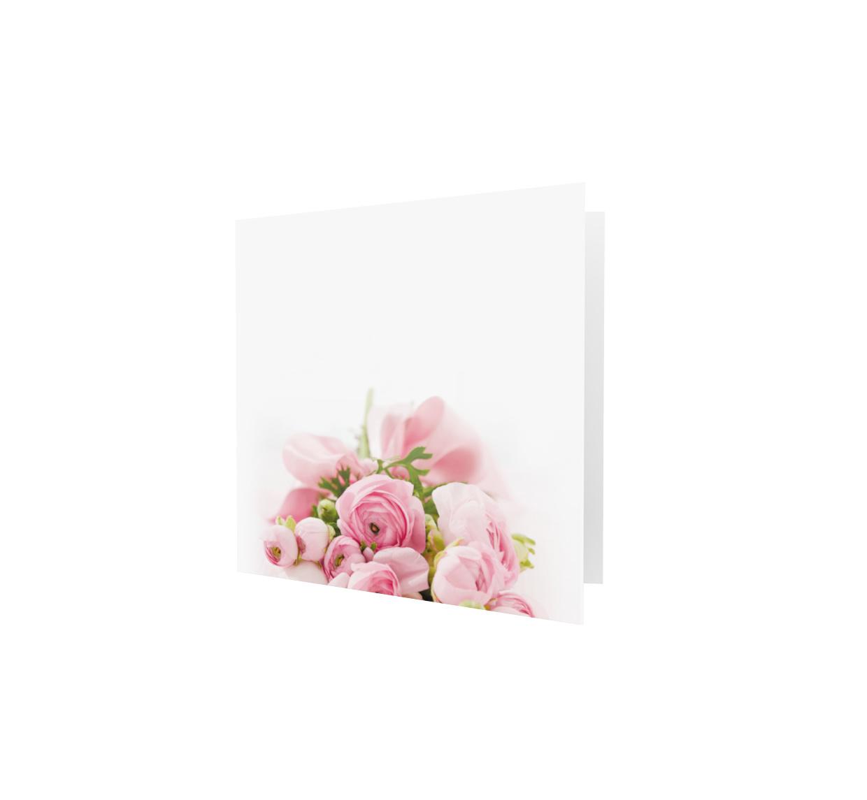 Familycards - Nova Memoria Rouwkaart -  boeket roze - vierkant  (893195)