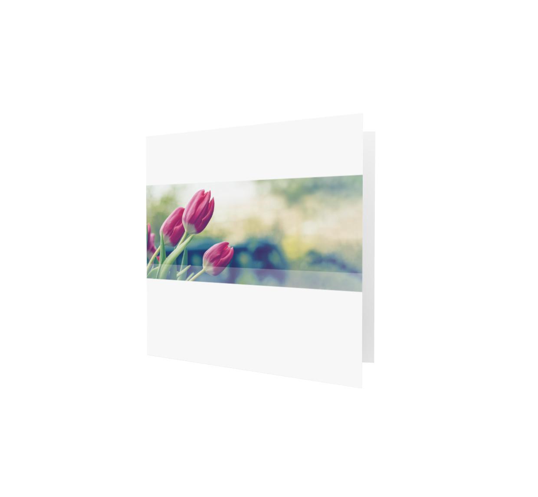 Familycards - Nova Memoria Rouwkaart -  rode tulpen in balk- vierkant  (893215)