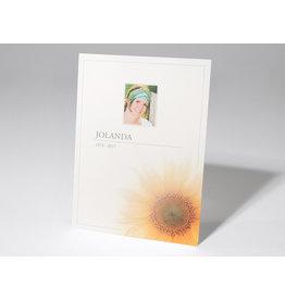 Familycards - Nova Memoria Rouwkaart - Zonnebloem en grijze rand