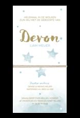 Belarto Geboorte 2020 Geboortekaartje - DIY met labeltjes, blauw en naam in goud(610043)