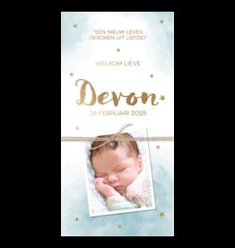Belarto Geboorte 2020 Geboortekaartje - DIY met labeltjes, blauw en naam in goud
