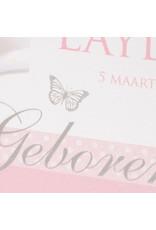 Oud Hollands geboortekaartje met voelbare  hartjesvorm (61189) - Copy