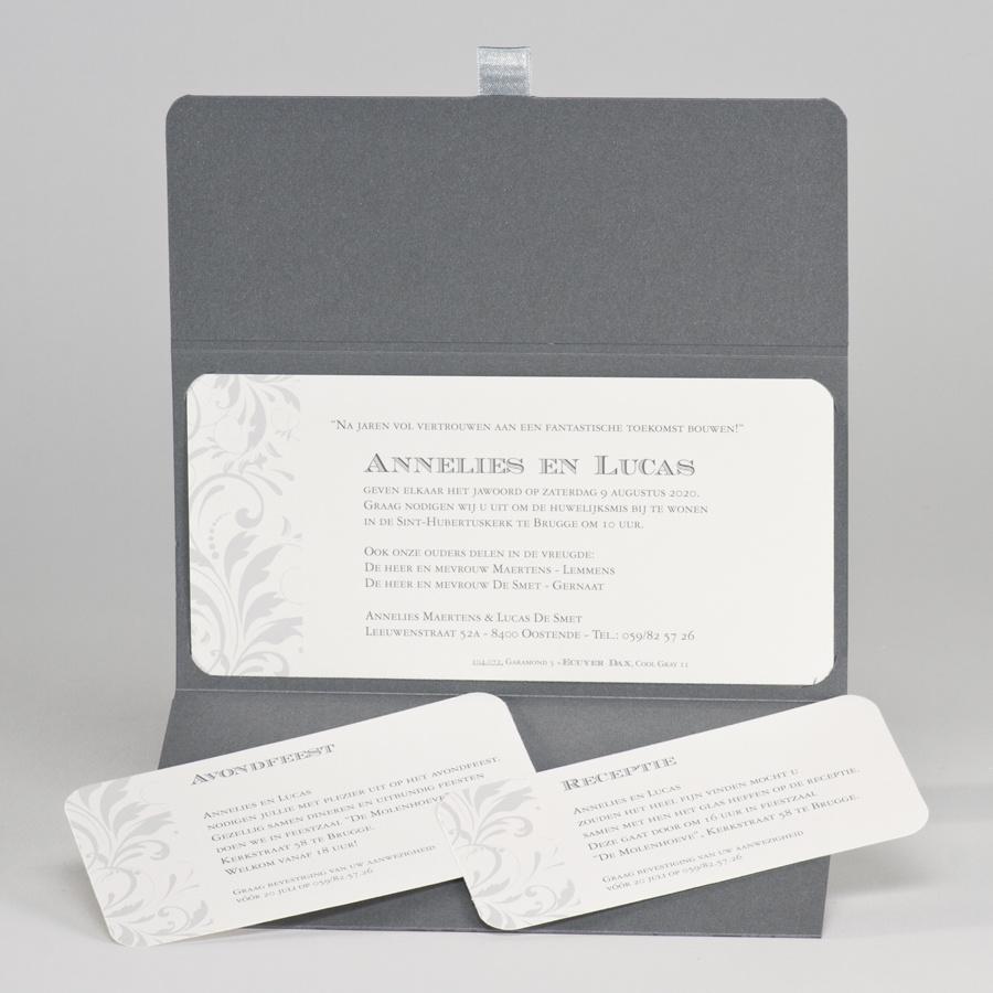 Buromac-Papillons Staalgrijs handtasje met barokmotief en zilverfolie - JA (104072)