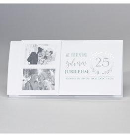 Buromac-Papillons Langwerpige jubileumkaart met zilveren krans