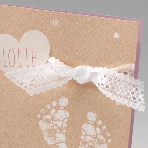Belarto Stay Geboortekaart Voetjes, hart en strik, roze (714089)