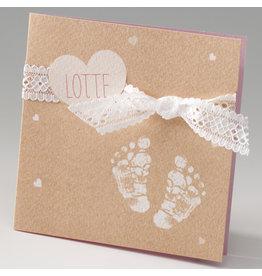 Belarto Stay Geboortekaart Voetjes, hart en strik, roze