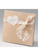 Belarto Stay Geboortekaart Voetjes, hart en een strikje, blauw  (714090)