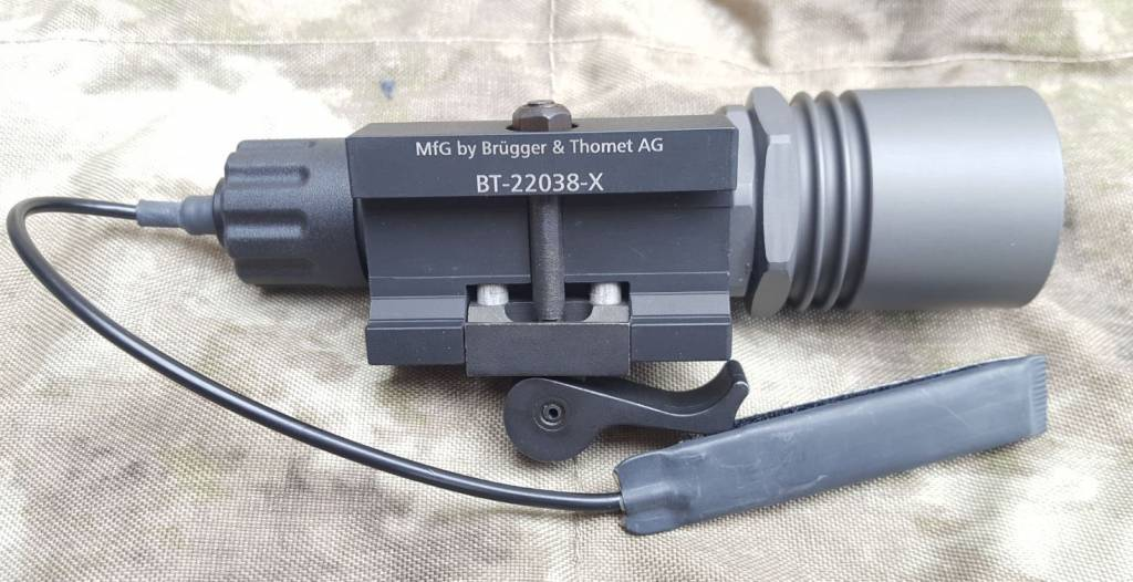 """Brügger & Thomet / B&T B & T 6V Tactical light with Surefire light cup with 6 """"Remote Switch, QD Picatinny Adapter Prototype - X series."""
