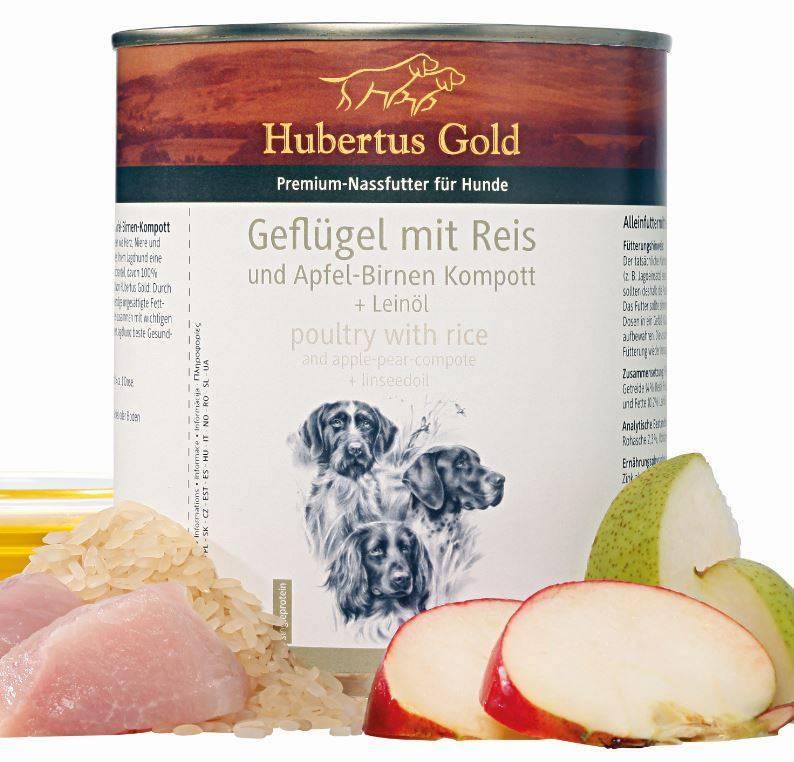 Hubertus Gold Hubertus Gold menu Kip met rijst en appel peer compote & lijnzaadolie
