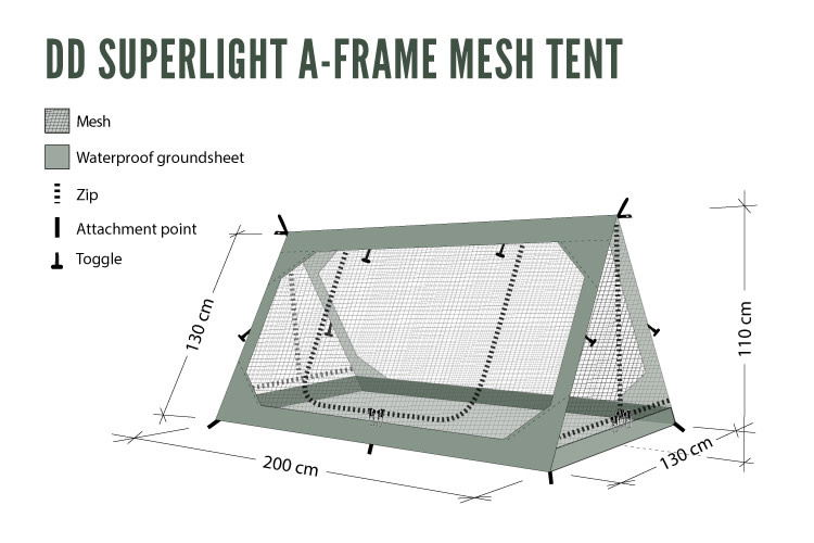 DD Hammocks SuperLight - A-Frame Mesh Tent