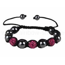 Shamballa armband met 6 antraciet kralen roze