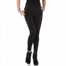 Zwarte leather look legging met glinstering