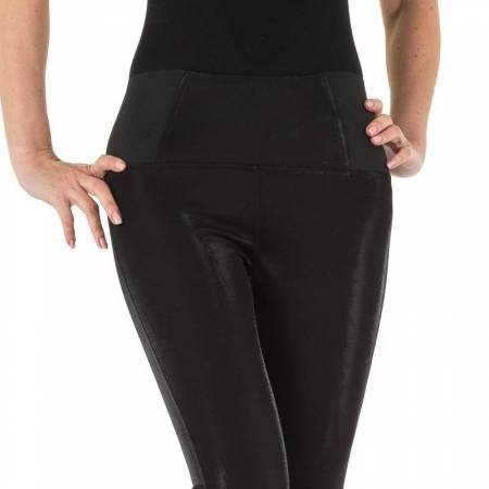 Zwarte leather look legging met glinstering