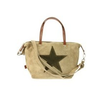 "Suede tas ""Be my Mini Star"" taupe"