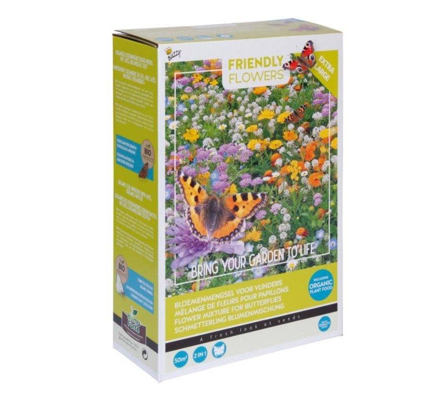 Buzzy Grow Gifts Friendly Flowers XL Schmetterling Blumenmischung 50m²