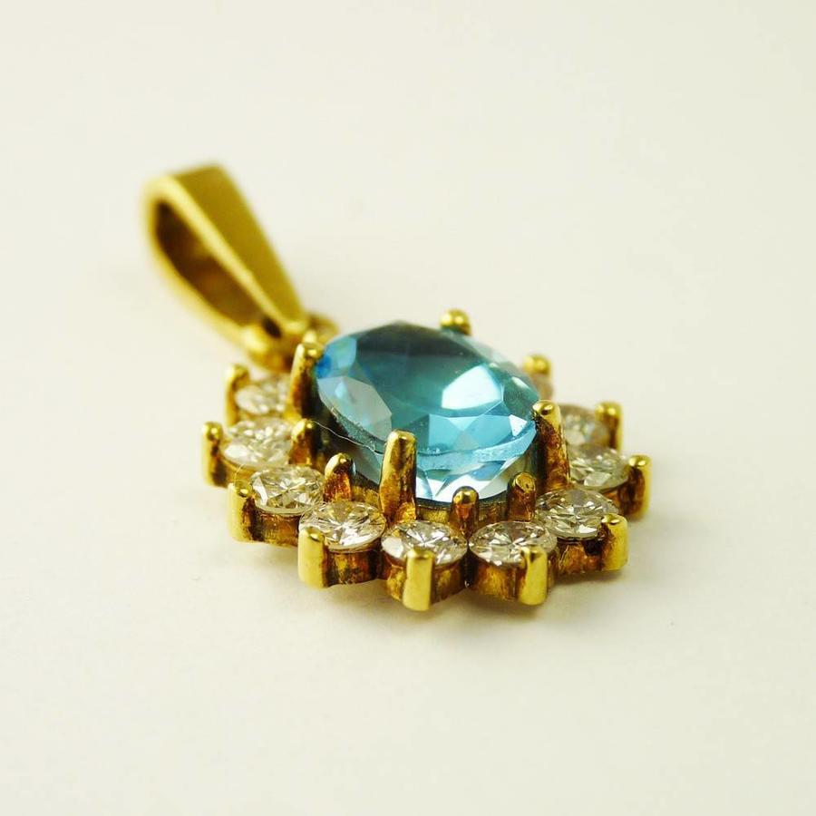 14 karaat geel gouden hanger met blauwe topaas en briljanten