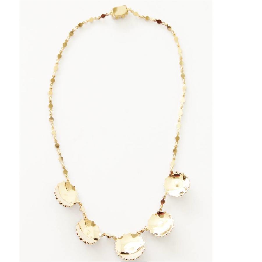 14 krt geel gouden collier bezet met natuurlijke facet geslepen Granaten