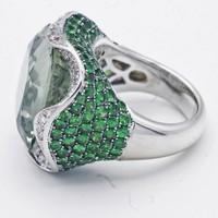 18 krt witgouden ring met grote Prasoliet. 1 ct Diamant en Tsavoriet