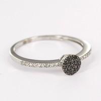 14 karaat witgouden damesring met zwarte diamant BDA WZW