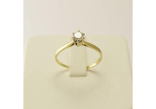 Occasion 14 krt. geel gouden solitair ring met briljant