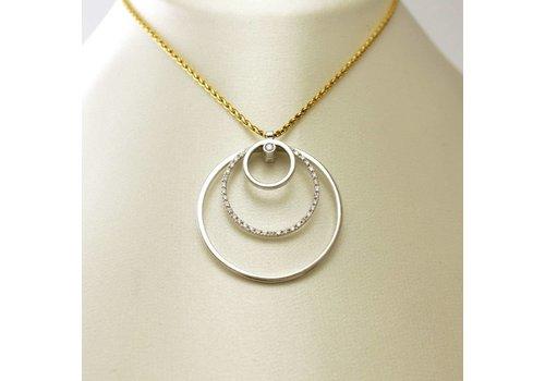 18 krt. bicolor gouden hanger en collier met briljant