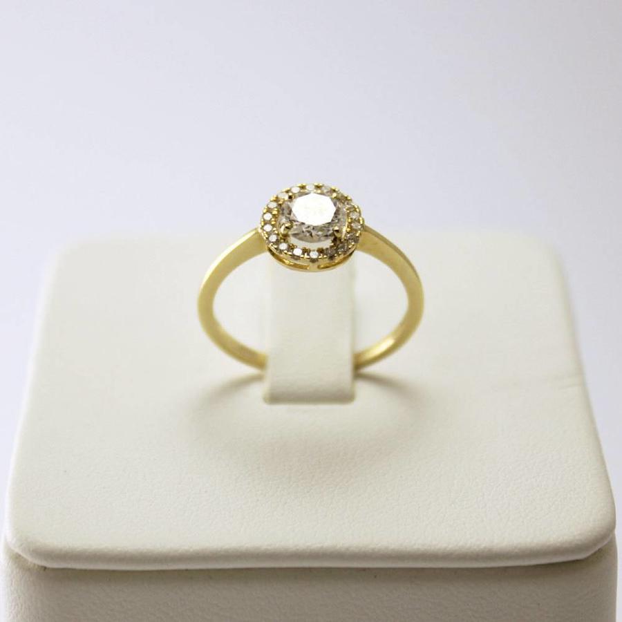14 krt. geel gouden damesring (kwaliteit pique 1. kleur H)