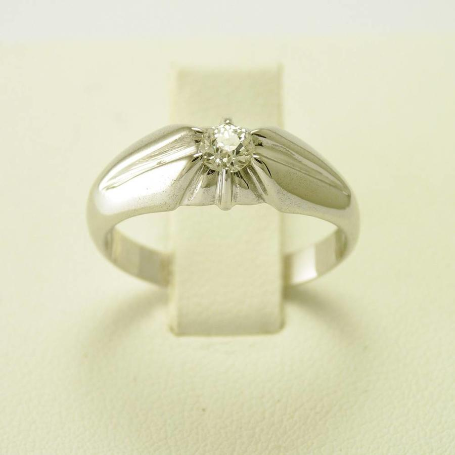 Occasion 14 krt. wit gouden ring. Tiffany stijl