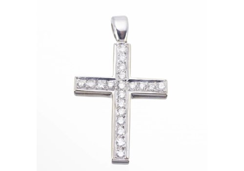 18 krt gouden kruis hanger bezet met 0.64 ct Diamant