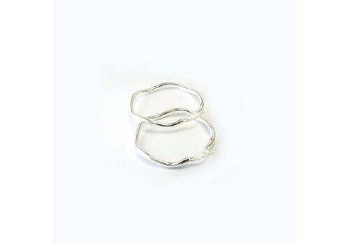 Zilveren creolen Wok 4-25. 25mm